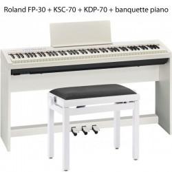 FP30wh roland + KSC70wh + KDP70wh + banquette piano