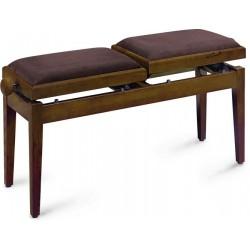 Banquette double piano noyer mat velours brun