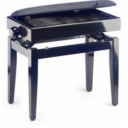 banquette piano avec coffre PB55 BKP VBK (noire mat dessus velours noir)